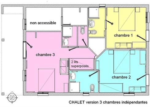 Plan d'un chalet avec ses 3 chambres.